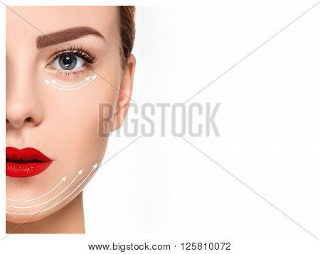 The young female face with clean fresh skin, antiaging and thread lifting concept