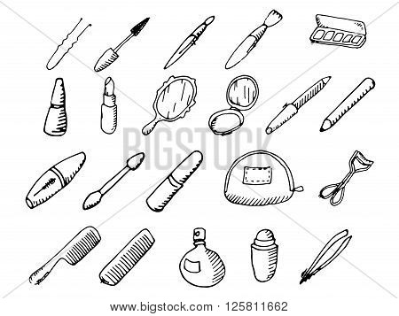 Sets of cosmetics. Hand drawn vector stock illustration