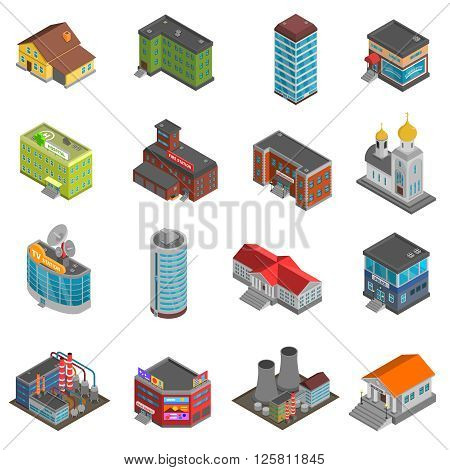 City buildings isometric icons set of colorful houses of different form isolated vector illustration