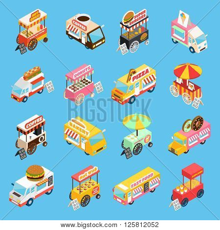 Street food trucks and carts selling hot dogs and wok dishes isometric icons set abstract isolated vector illustration poster