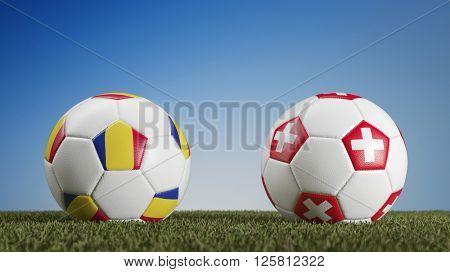 Football match Romania vs. Switzerland during european soccer game (3D Rendering)