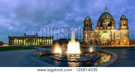 Panorama of the Berliner Dom and the Altes Museum at Lustgarten in Berlin, Germany, by night
