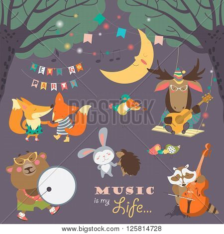 Set of vector illustrations with animals musicians and dancers