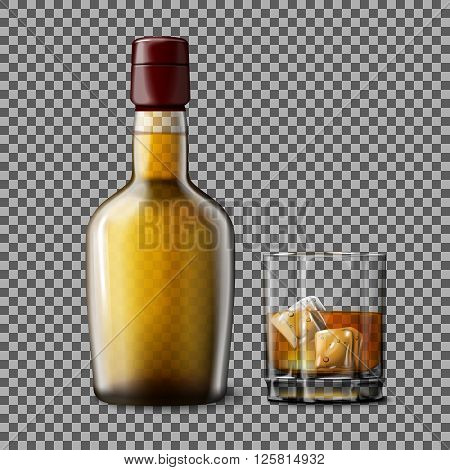 Transparent realistic Vector bottle and glass with smokey Scotch Whiskey and ice isolated. Glass and drink for every background.
