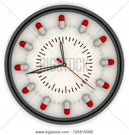 The watch for the drug intake. Analog Clock with a dial made from capsules and tablets. Isolated. 3D Illustration