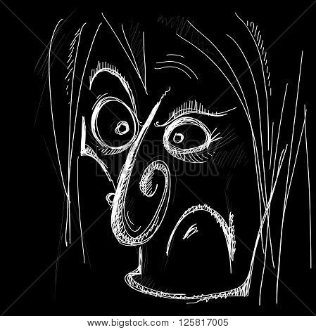 evil caricature of a human face in typographic style on a black background vector illustration