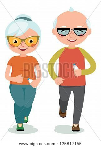 Mature couple engaged sportswear jogging Stock vector illustration