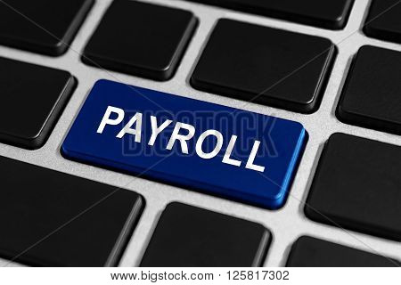 payroll blue button on keyboard business concept