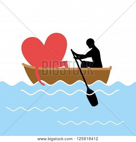 Man And  Love And Ride In Boat. Lovers Of Sailing. Man Rolls Heart Of Gondola. Rendezvous In The Boa