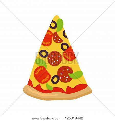 Piece Of Pizza On White Background. Tomatoes And Sausage Cheese And Greens. Crispy Crust. Pizza Isol