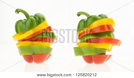 Two Bell Peppers Sliced Into Colorful Rings, Isolated On White Background.
