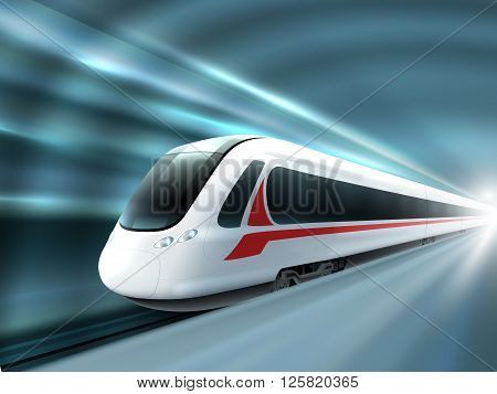 Super streamlined high speed train station tunnel with motion light effect background realistic poster print vector illustration