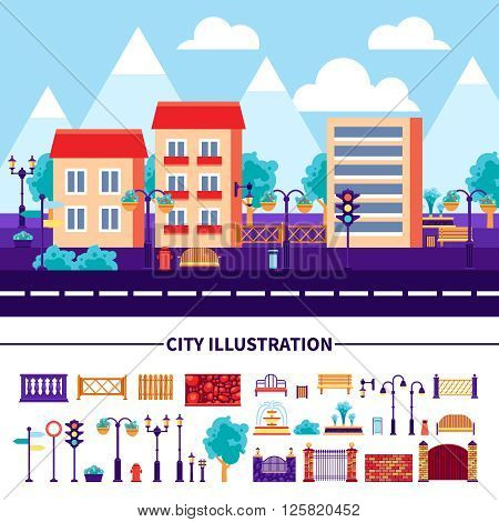 Set of decorative icons with different common objects and elements for city street construction vector illustration