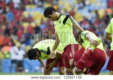 RIO DE JANEIRO BRAZIL - June 18 2014: Javi MARTINEZ da Espanha, during the 2014 World Cup. Spain is facing Chile in the Group B at Maracana Stadium