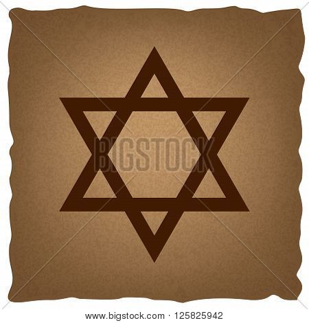 Star. Shield Magen David. Symbol of Israel. Coffee style on old paper.