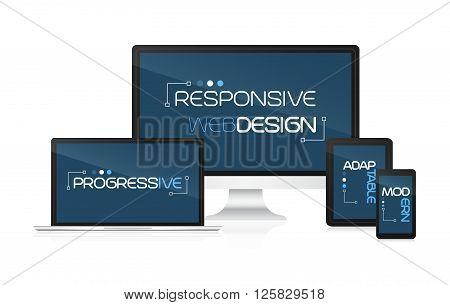 Responsive web design. Concept for presentation your responsive design. Vector illustration.