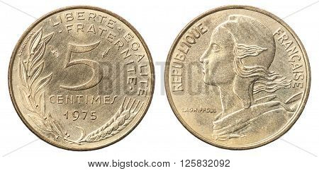 French Coin 5 Centimes