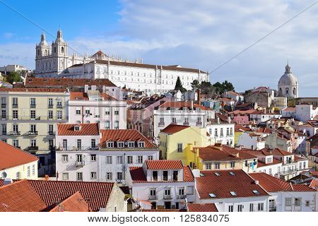 View of Alfama in Lisbon i Portugal