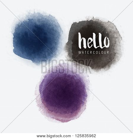 Watercolour Vector Circles.Vector watercolour label stains. Vector illustration.