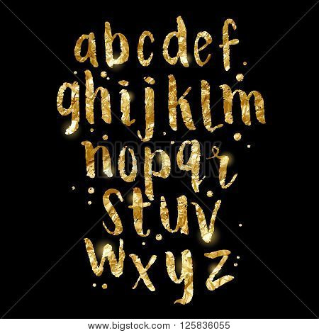 Gold foil glittering Brush Letters. Hand made Alphabet lettering in gold. Vector illustration.