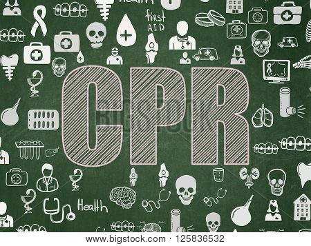 Medicine concept: CPR on School board background