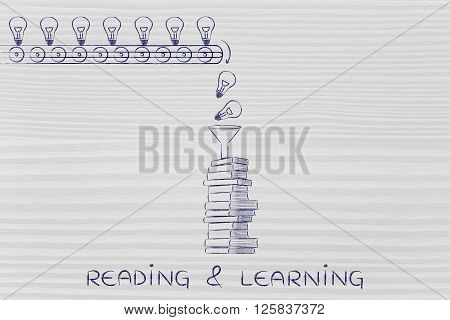 Knowledge & Ideas Being Dropped Into Books, Reading & Learning