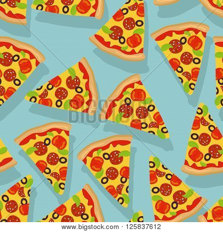 Pizza Seamless Pattern. Delicious Slice Of Pizza Background. Traditional Italian Food Ornament. Text