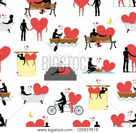 Lovers Set Of Silhouettes Seamless Pattern. Heart And Ornament Person. Man And Heart In Movie Theate