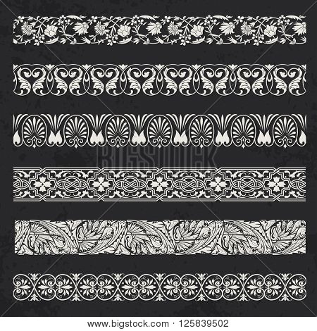 Decorative seamless ornamental borders set