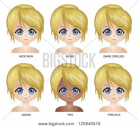bad skin vector cartoon on white background