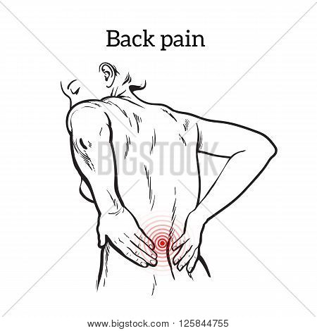 Lumbar pain in a woman back pain in a human vector outline sketch, black and white illustration with the concept of the disease back, violation of waist, lumbar vertebrae and intervertebral discs