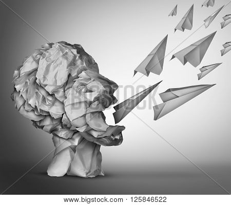 Paper Communication and social media marketing concept as a group of crumpled office paper shaped as an open mouth human head communicating with paper airplanes as a metaphor for promotion.
