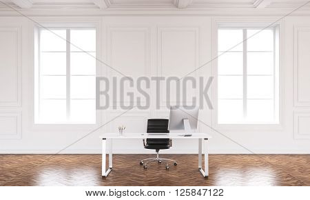 Office interior design with workspace and daylight. 3D Rendering