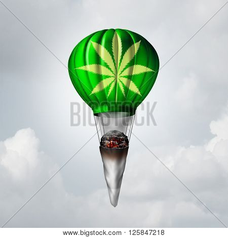 Marijuana joint concept as a rolled pot lit up with smoke coming out and tied to a rising 3D illustration air balloon as a metaphor for getting high on a recreational drug or the rise of medicinal cannabis symbol.