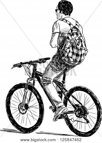 Sketch of a cyclist with a checkered backpack