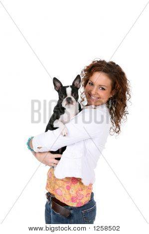 Boston Terrier And Owner