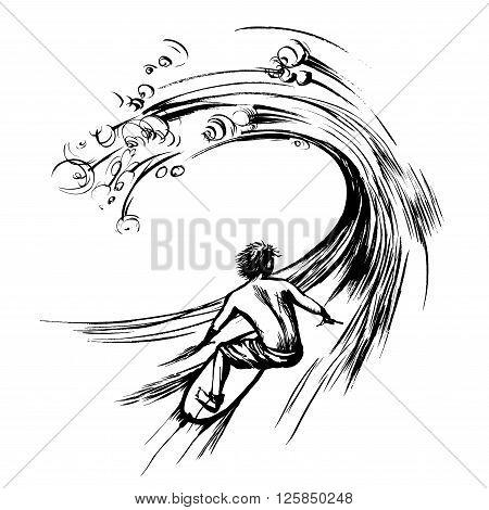 Surfer in wave brush ink sketch handdrawn serigraphy print stamp