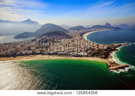 Aerial View Of Famous Copacabana Beach And Ipanema Beach In Rio De Janeiro