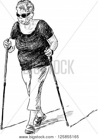 Vector drawing of an elderly woman walks with the norwegian sticks.