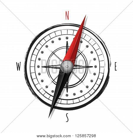 Watercolor hand drawn compass isolated on white background. Outline wind rose illustration. Color compass arrow symbol. Design concept for travel tourism navigation.