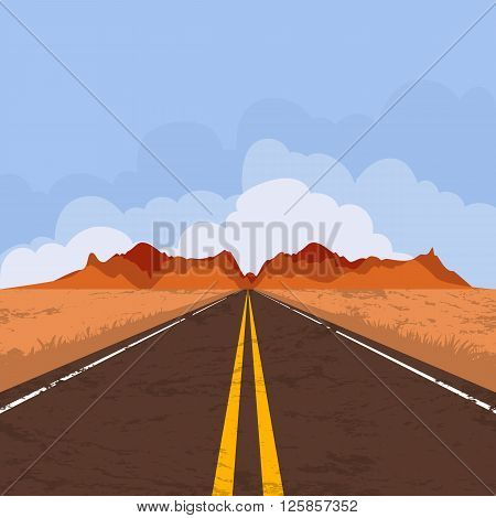 Vector illustration of highway in desert and mountains. Summer landscape with empty road and blue sky. Country street road flat style illustration. Nature background.