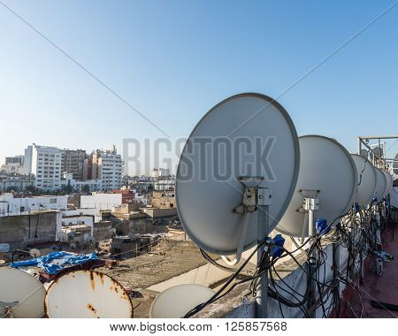 The satellite dish on the roof top of building in Casablanca Morocco