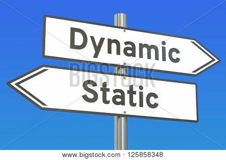 Dynamic or Static concept 3D rendering on the signpost