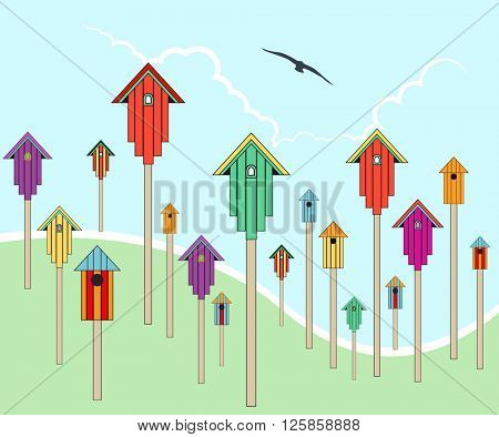 Scattered birdhouses on a hill side