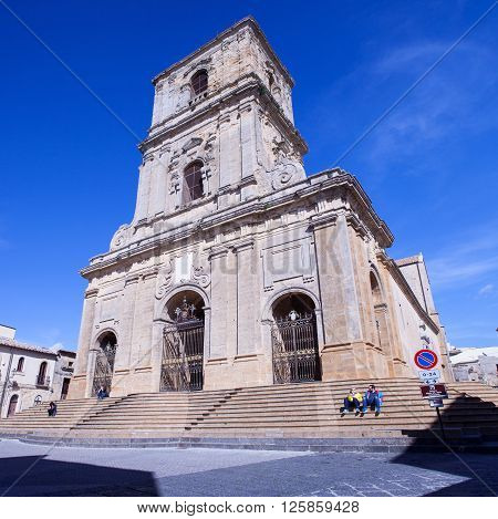 ENNA ITALY - MARCH 29: View of the Enna cathedral called Maria Santissima della Visitazione on March 29 2016
