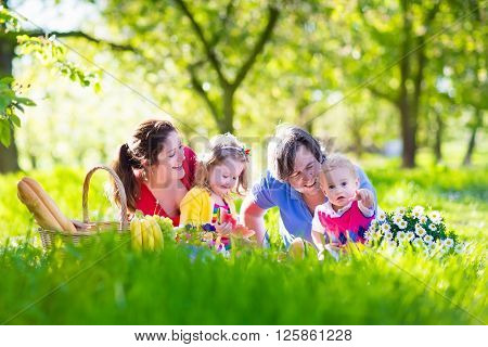 Young family with kids having picnic outdoors. Parents with two children relax in a sunny summer garden. Mother father little girl and baby boy eat sandwich and fruit drink juice for lunch in park