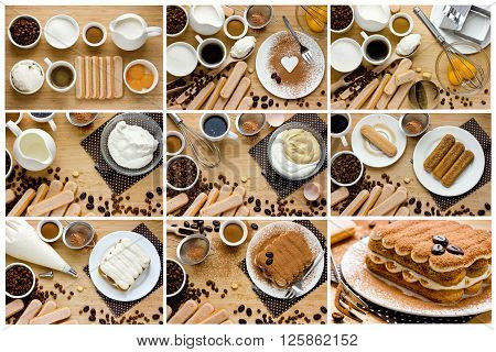 Recipe step by step collage for cooking traditional Italian dessert tiramisu