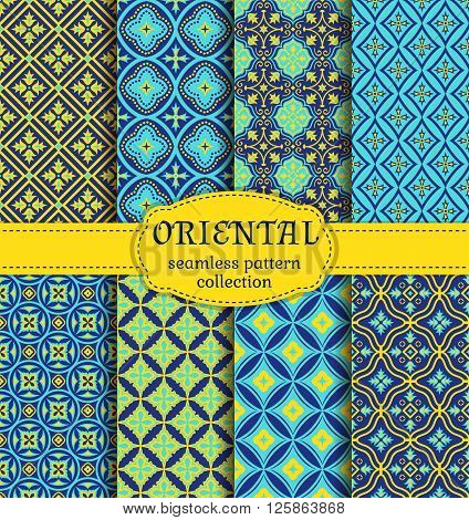 Eastern seamless patterns. Set in blue indigo and yellow colors. Colorful collection of stylized oriental ornaments. Trendy abstract backgrounds. Vector illustration.