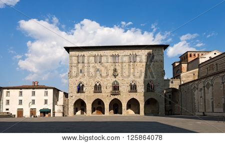 Cathedral square (Piazza Duomo) with the town hall. Pistoia Tuscany Italy poster