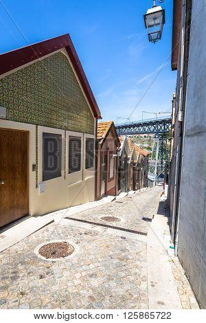 Quaint alleyway scene in Porto Portugal. Europe .